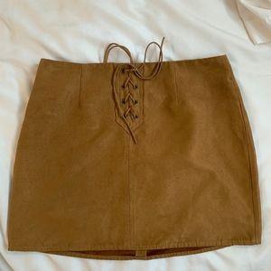 Kendall Kylie Tan Suede Tie - Up Skirt